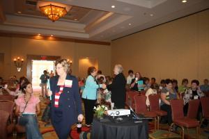Carol Hagen greets Judy DeWeese