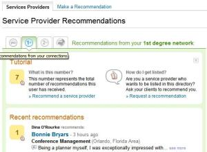 LinkedIn Service Provider Recommendations for your 1st contacts