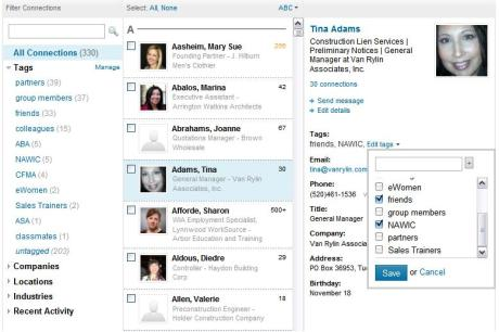 Tags organize your contacts into groups