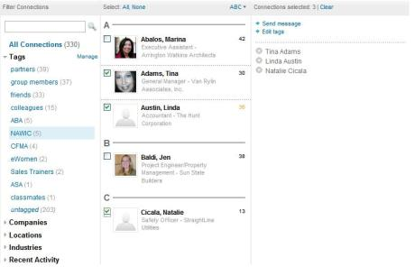 Select one Tag, then select all or individual contacts