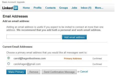 Primary and secondary email addresses