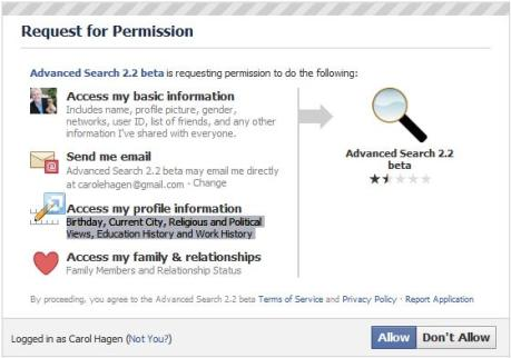 Request for Permission with Advanced Search 2.2 in Facebook