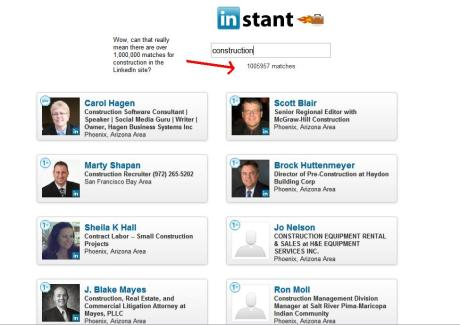 An instant search of your 1st connections on LinkedIn