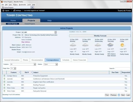 Corecon Team Link Portal - Correspondence Tab