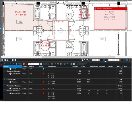 How to add Area, Perimeter and Wall area to a measurement markup in Bluebeam Revu