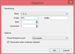 RFI Prefix for an autosequencing RFI text box