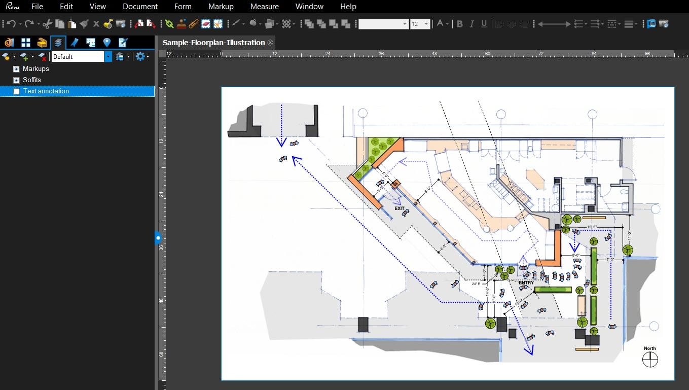 markups added to the floorplan illustration these custom tools created in bluebeam - Floor Plan Tools