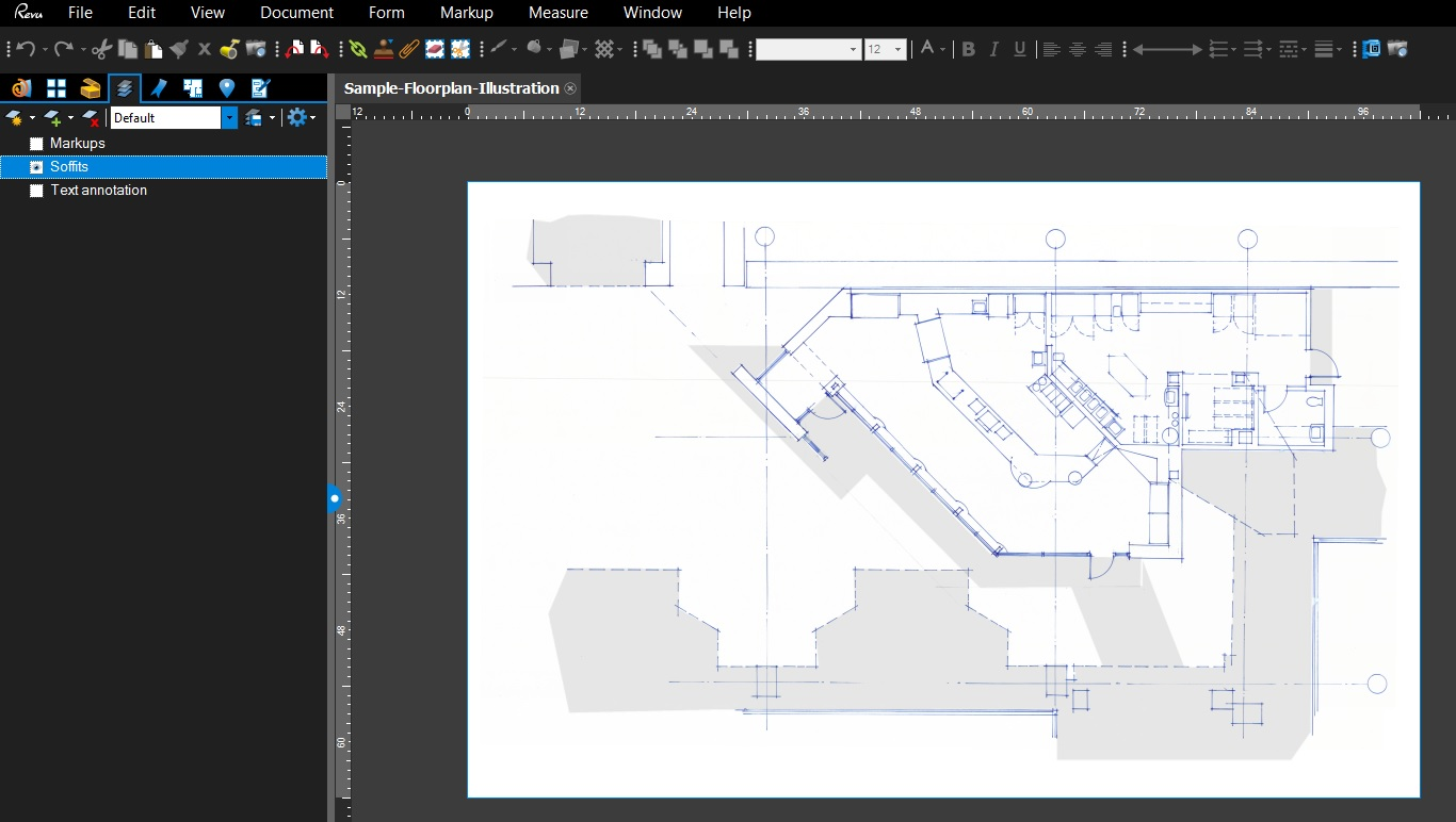 adding the soffits layer to the sketch in bluebeam - Floor Plan Tools