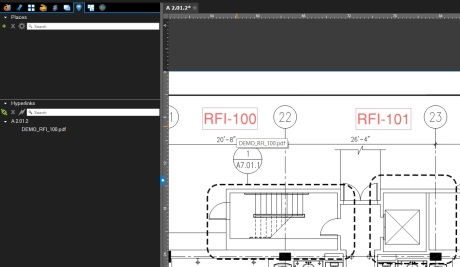 Hyperlinked RFI on a plan in Bluebeam Revu